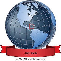Jamaica, position on the globe Vector version with separate...