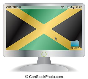 Jamaica Computer Screen With On Button
