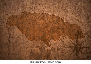 jamaica, dávný, mapa, vinobraní, noviny, grafické pozadí, louskat