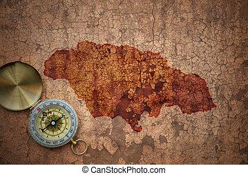 jamaica, dávný, mapa, vinobraní, noviny, louskat