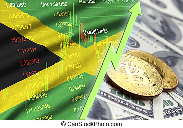 Jamaica flag and cryptocurrency growing trend with two bitcoins on dollar bills