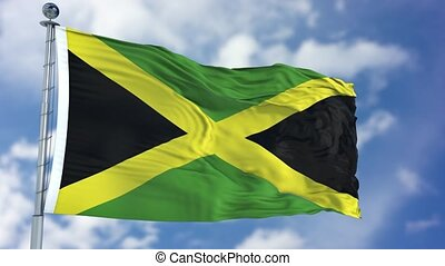 Jamaica Flag in a Blue Sky. Use this clip loud and proud to...