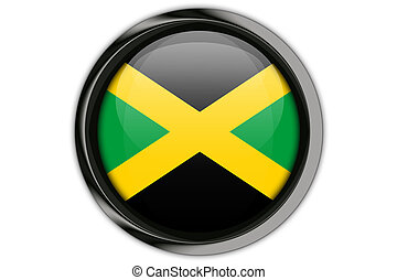 Jamaica flag in the button pin Isolated on White Background