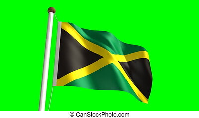 Jamaica flag (Loop & green screen) - 3D Jamaica flag video...