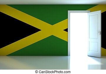 Jamaica flag on empty room