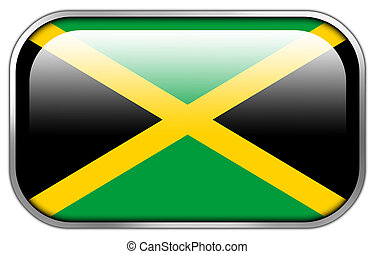 Jamaica Flag rectangle glossy button