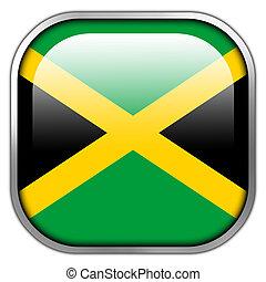 Jamaica Flag square glossy button