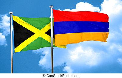 Jamaica flag with Armenia flag, 3D rendering