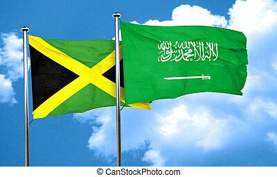 Jamaica flag with Saudi Arabia flag, 3D rendering