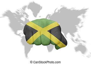 jamaica, grafické pozadí, mapa, celostátní vlaječka, pěst, společnost