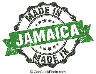 jamaica, hecho, redondo, sello