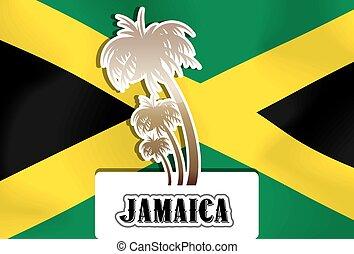 Jamaica, illustration - Jamaica, Jamaican flag, palm trees,...