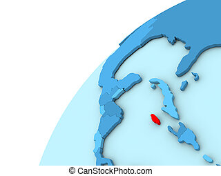 Jamaica in red on blue globe