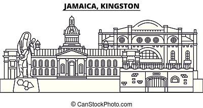 Jamaica, Kingston line skyline vector illustration. Jamaica, Kingston linear cityscape with famous landmarks, city sights, vector design landscape.