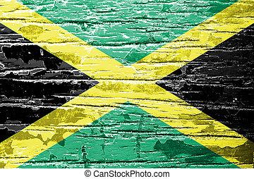 jamaica läßt, gemalt, auf, grunge, holz, hintergrund