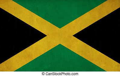 jamaica läßt, zeichnung, und, retro, fahne, reihe