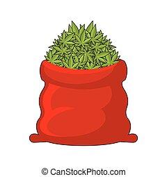 jamaica, lleno, santa, bolsa de obsequio, marijuana.,...