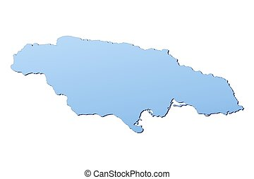 Jamaica map filled with light blue gradient. High...