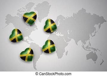 jamaica, mapa, celostátní vlaječka, pět, grafické pozadí, herce, společnost