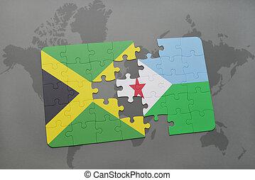 jamaica, mapa, hádanka, djibouti znamení, společnost, národnostní