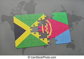 jamaica, mapa, hádanka, prapor, eritrea, společnost, národnostní