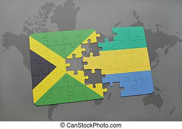jamaica, mapa, hádanka, prapor, gabon, společnost, národnostní