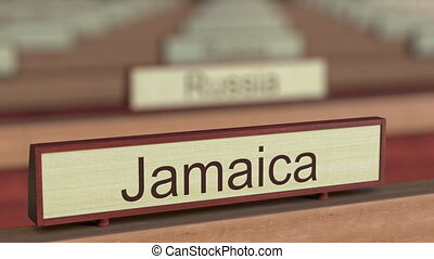 Jamaica name sign among different countries plaques at...