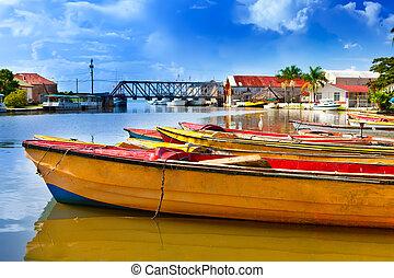 jamaica., national, boote, auf, der, schwarz, river.