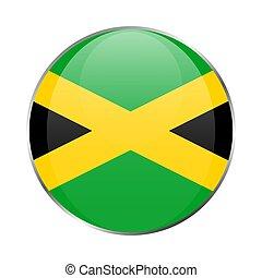Jamaica national flag round glossy icon. Jamaican badge Isolated on white background.