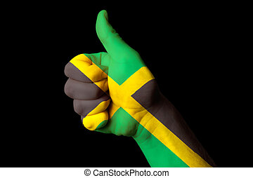 jamaica national flag thumb up gesture for excellence and achiev