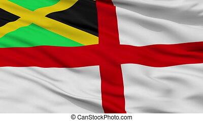 Jamaica Naval Ensign Flag Closeup Seamless Loop - Naval...