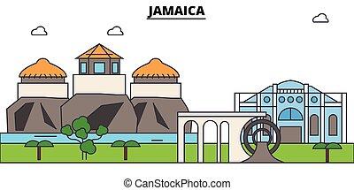 Jamaica outline skyline, jamaician flat thin line icons, landmarks, illustrations. Jamaica cityscape, jamaician travel city vector banner. Urban silhouette