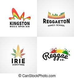 jamaica, pojęcie, komplet, barwny, taniec, dodatni, towarzystwo, kingston, ephiopia, kultura, bandera, wektor, muzyka, afrykanin, druk, reggaeton, logo., template., design.