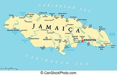jamaica, político, mapa