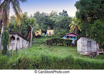 jamaica, por, road., chozas