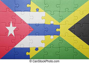 jamaica, quebra-cabeça, bandeira, nacional, cuba
