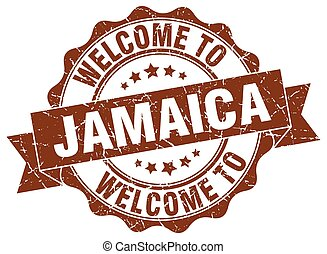 jamaica, redondo, fita, selo