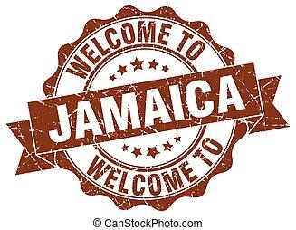 jamaica, runda, band, försegla