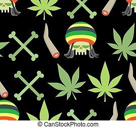 jamaica, spliff, folha, cranio, rasta, drogas, pattern., empurrar, cannabis., seamless, fumar, bones.