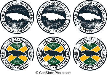 Jamaica Stamps - A collection of vintage style Jamaican...