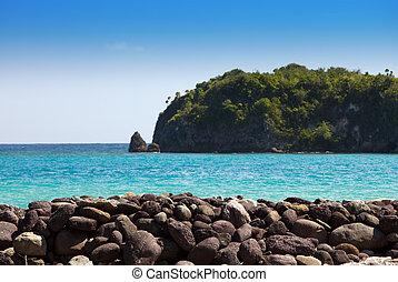 jamaica., stein, böschung, und, der, meer, fokus