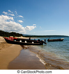 Jamaica - Colorful Boats on the island of Jamaica in the...