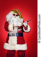 jamaica vacation - Casual Santa Claus hippie playing ukulele...