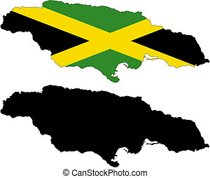 jamaica - vector map and flag of Jamaica with white...