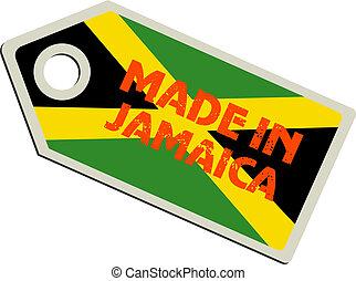jamaica, vector, etiqueta, hecho