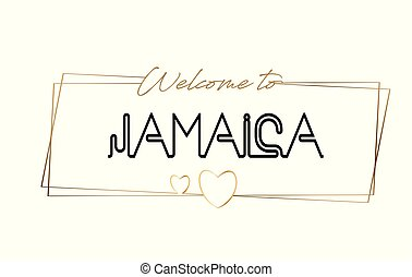 Jamaica Welcome to text Neon lettering typography. Word for logotype, badge, icon, postcard, logo, banner Vector Illustration.