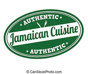 Jamaican cuisine stamp - Jamaican cuisine grunge rubber...