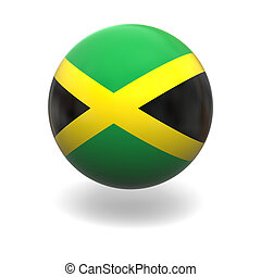 Jamaican flag - National flag of Jamaica on sphere isolated...