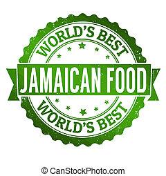Jamaican food grunge rubber stamp on white, vector illustration
