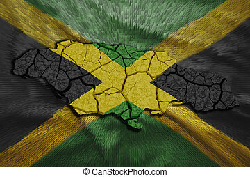 Jamaican Map - Map of Jamaica in National flag colors